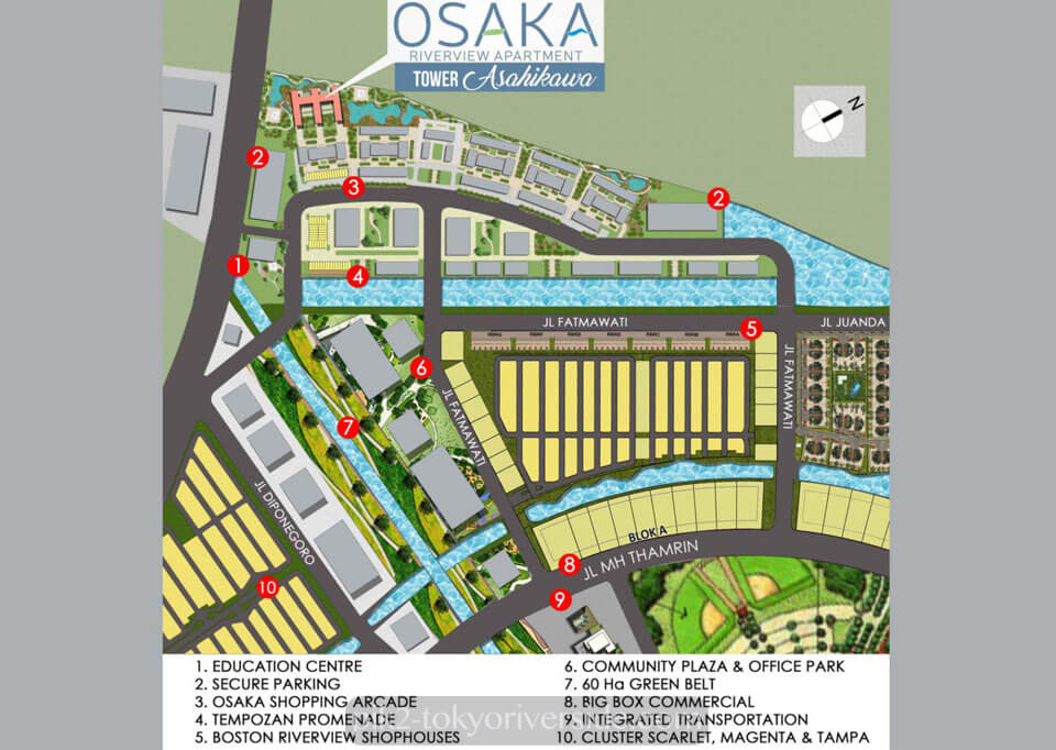 Lokasi Apartemen Osaka Riverview PIK2