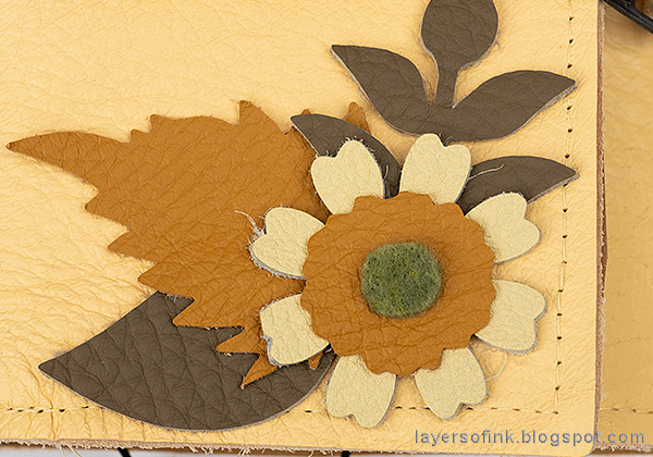 Layers of ink - Wrapped Leather Journal by Anna-Karin Evaldsson with leather leaves and flowers