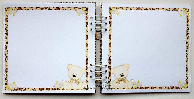 livro de mensagens ursinho com estampa de oncinha onça bege e marrom menina