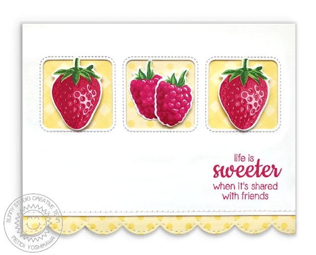 Sunny Studio: Berry Bliss Color Layering Cherries Red Gingham Card by Mendi Yoshikawa (using Fancy Frames Oval dies, Fresh & Fruity and Background Basics stamps)