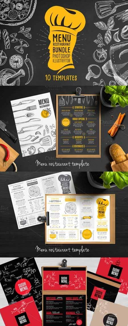 pack de 10 plantillas de menú de restaurantes