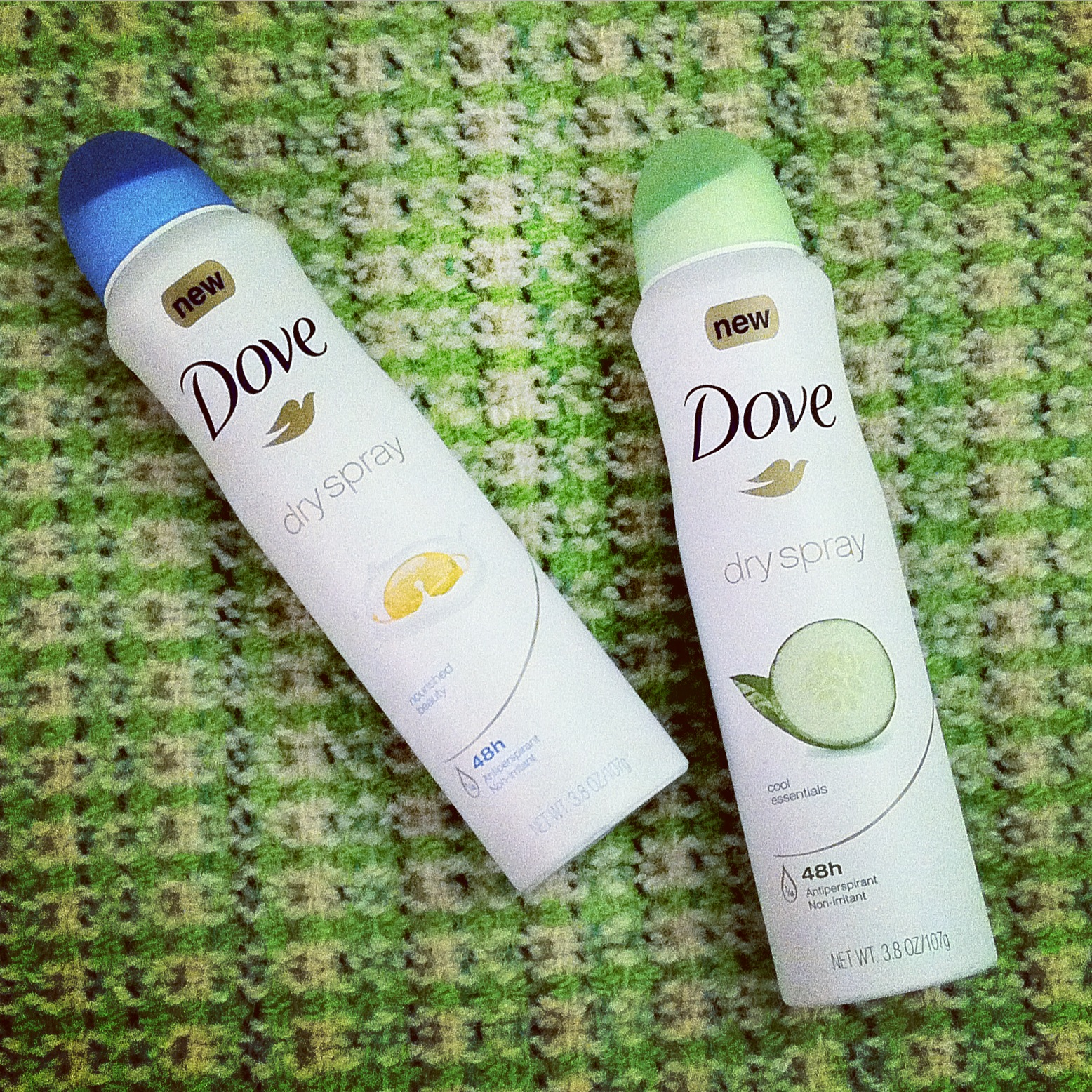 "Dove Dry Spray Antiperspirants in ""nourished beauty"" and ""cool essentials"""