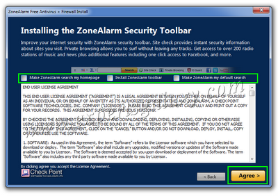 ZoneAlarm Antivirus Installation Screen