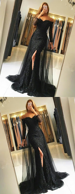 Off-shoulder-black-prom-dress