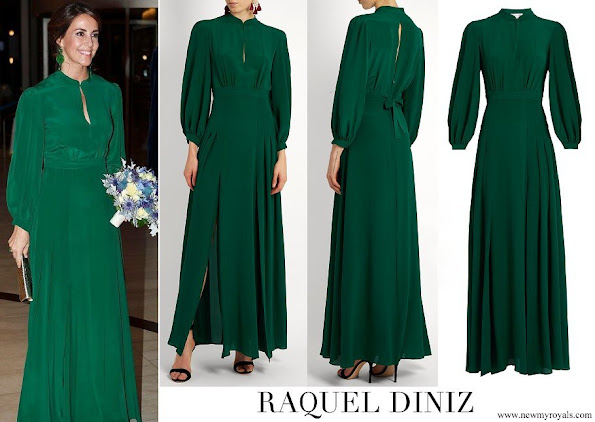 Princess Marie wore Raquel Diniz Green Armonia Silk-Georgette Dress