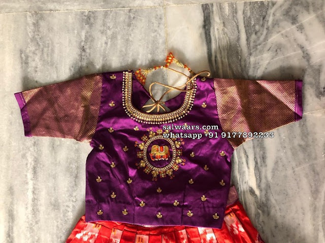 Orange and Purple Ikkat Lehenga