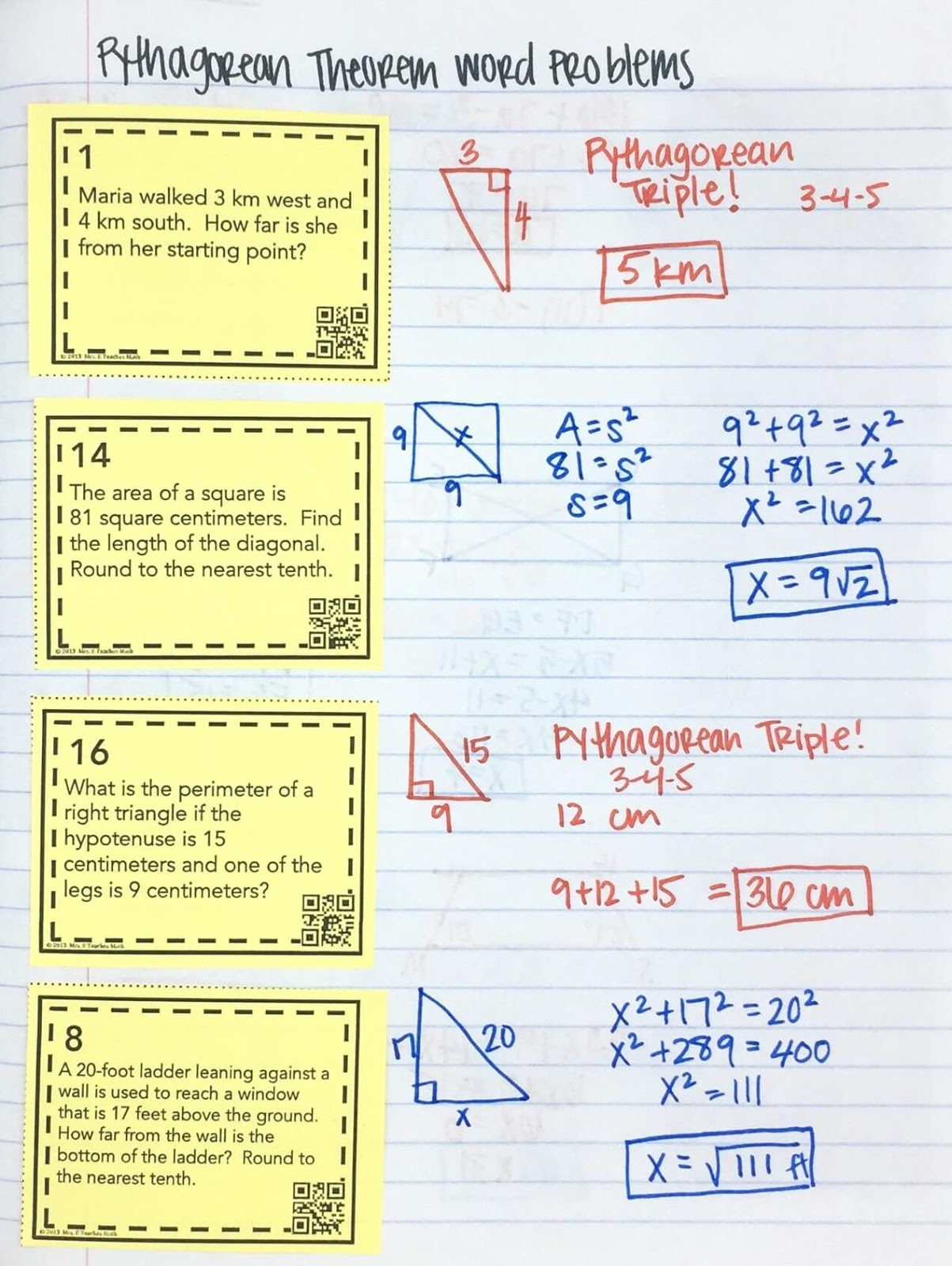 hight resolution of Pythagorean Theorem INB Pages   Mrs. E Teaches Math