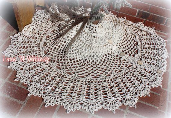 Lace And Whimsy: Vintage Lace Christmas Tree Skirt Crochet