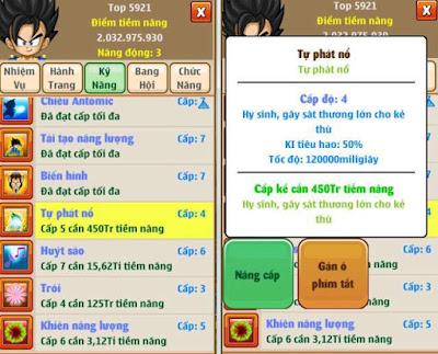 Ngọc rồng online - Skill tự phát nổ