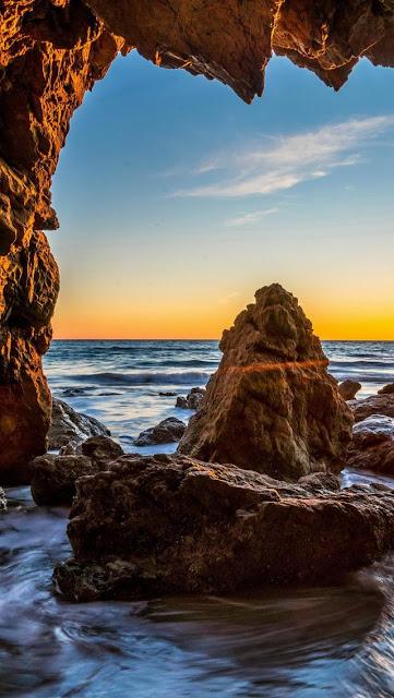 Sfondi gratis per iPhone, natura, mare, rocce, scogli, oceano, tramonto,