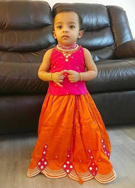 Baby in Orange and Pink Mirror Lehenga