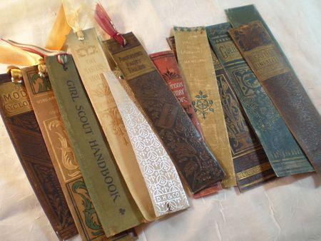 DIY Bookmarks, Salvaged Books, Book Spines