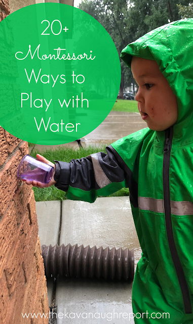 20+ Montessori ways to play with water with your child in your home - practical life ideas including water.