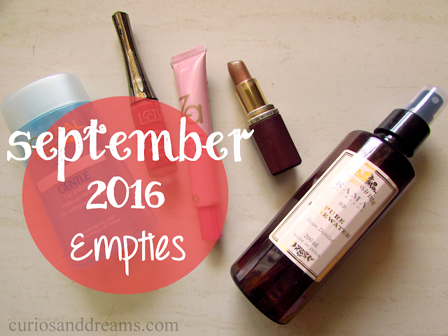 September 2016 Empties, September empties