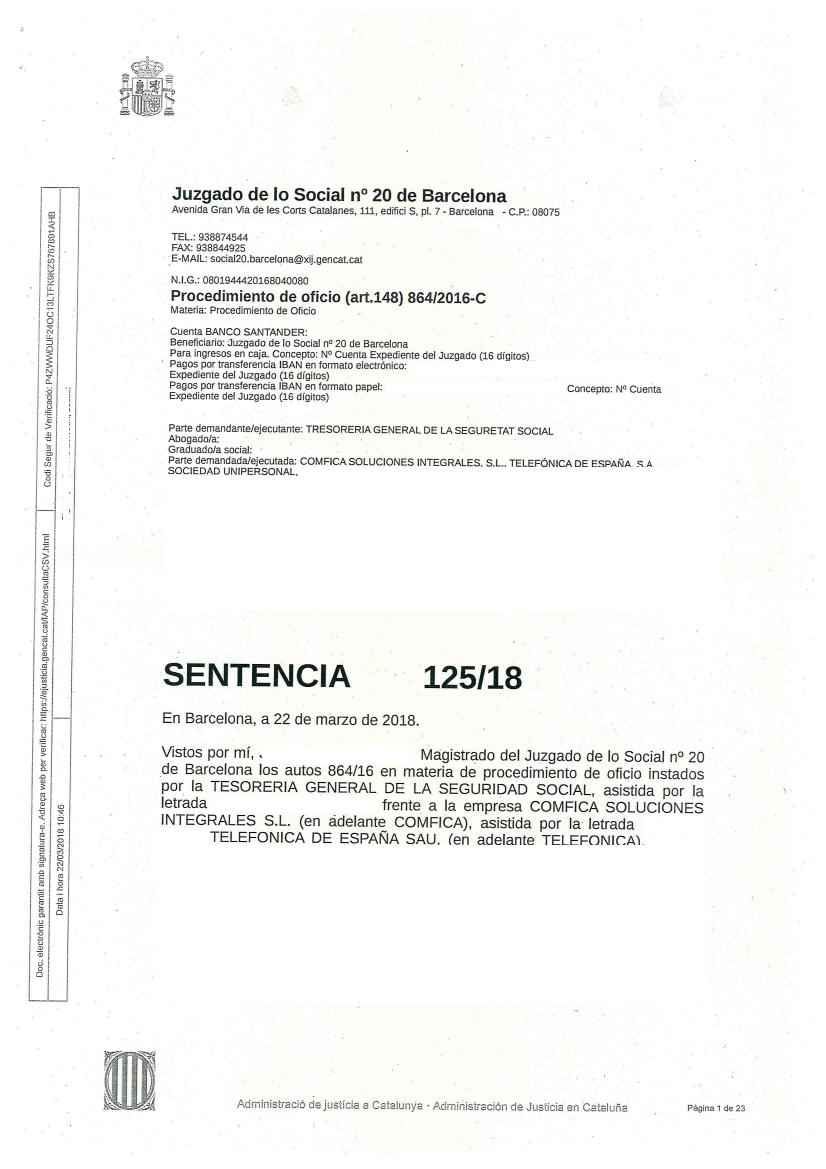 Contratas, Subcontratas y Autonom@s de Telefónica: EL JUEZ SENTENCIA ...