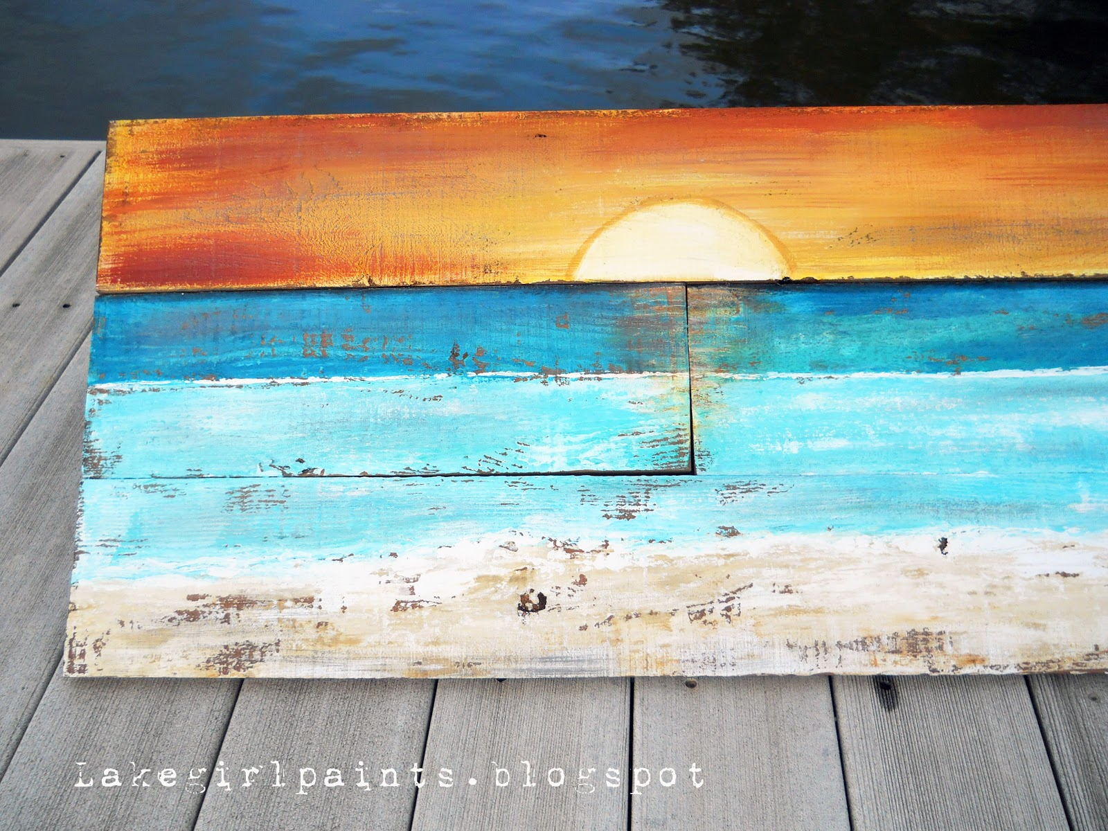 Art Painted On Wood Lake Girl Paints Sunset Beach Art From Fence Boards