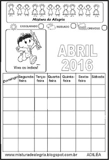 Calendário abril 2016 colorir