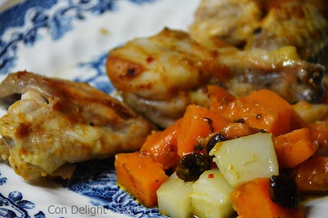 """עוף בתנור מתוק עם תפו""""א ובטטה sweet potato chicken baked"""