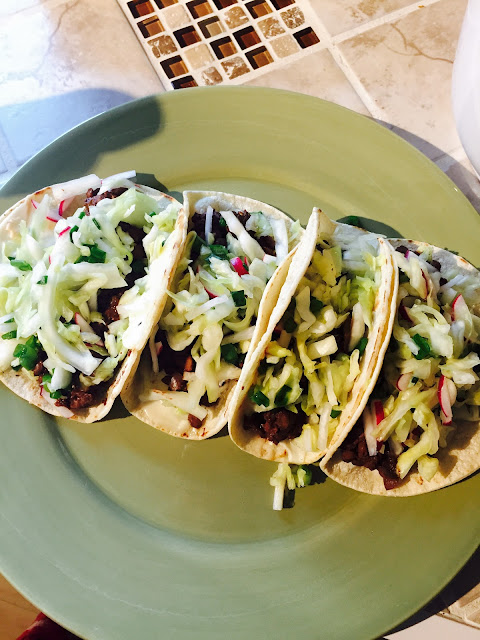 Mole Lentil Tacos with Cabbage Slaw