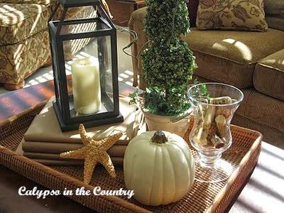 White pumpkin vignette on a rattan tray