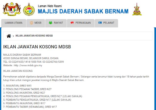 Rasmi - Jawatan Kosong (MDSB) Majlis Daerah Sabak Bernam Terkini 2019