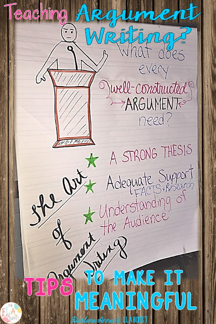 With a couple of little twists, your middle school students will LOVE writing argumentative essays! Read this blog post for tips to make arguments meaningful and authentic. #argumentwriting @middleschoolwriting #teachwriting