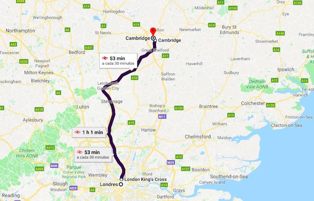 Mapa da viagem de trem de Londres a Cambridge