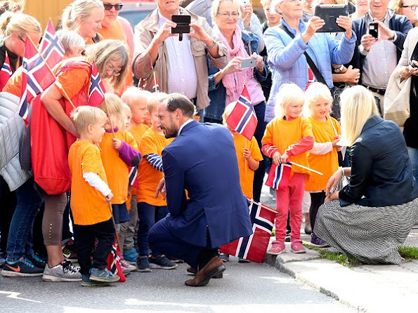 Prince Haakon and Princess Mette-Marit attend the celebrations relating to the 350th anniversary of establishment of Kragerø city. Mette-Marit wore Prada dress