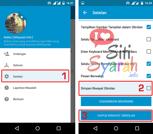 Hapus chat di BBM terbaru Android