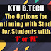 'F' or 'FE' GRADE   OPTIONS FOR REPEATING COURSE IN B.Tech