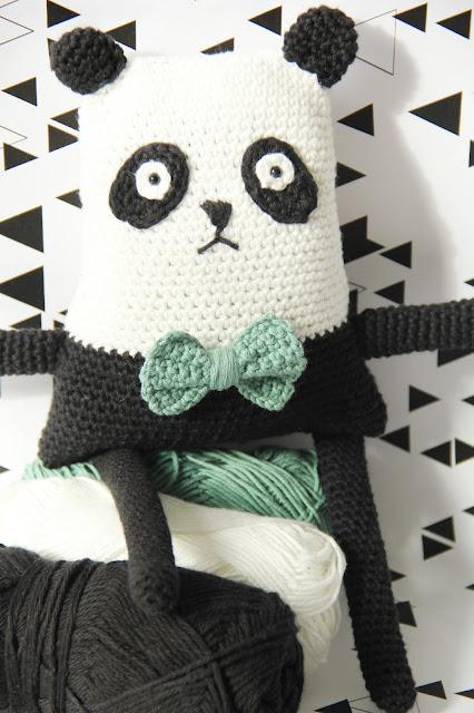 Studio Mojo, gratis patroon, gehaakte panda, haken, knuffel, panda, Gehaakt/ crochet, Phildar coton 3, knisperfiguurtje