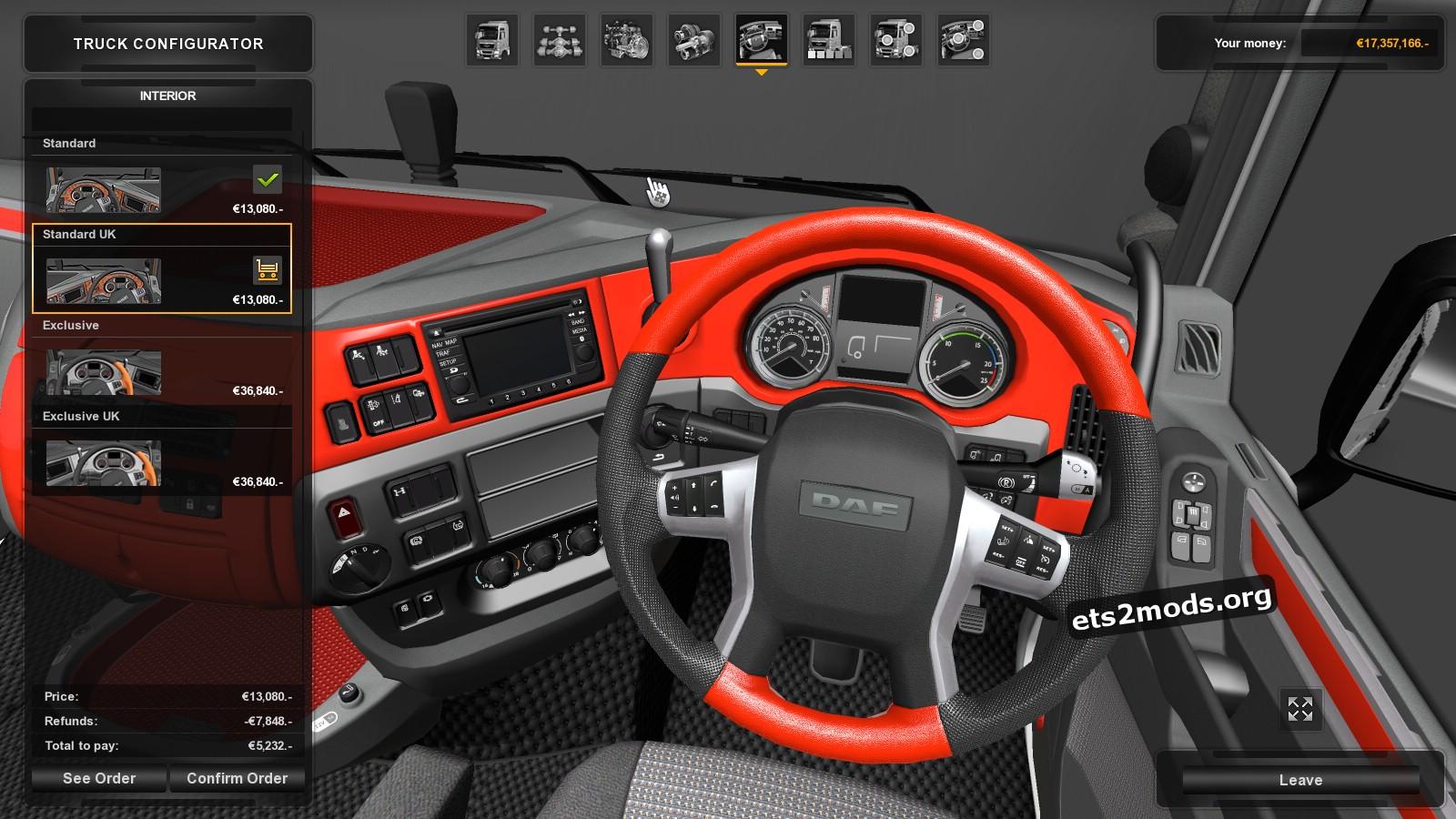 DAF Euro 6 Custom Red Interior