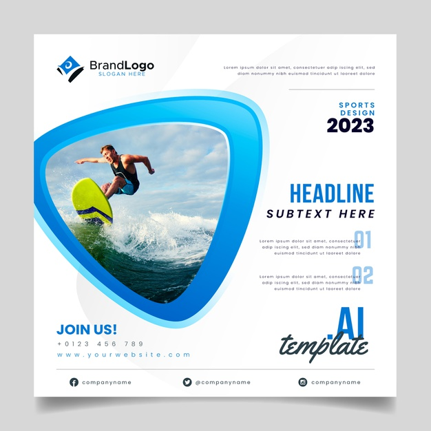 Surfer flyer template Free Vector