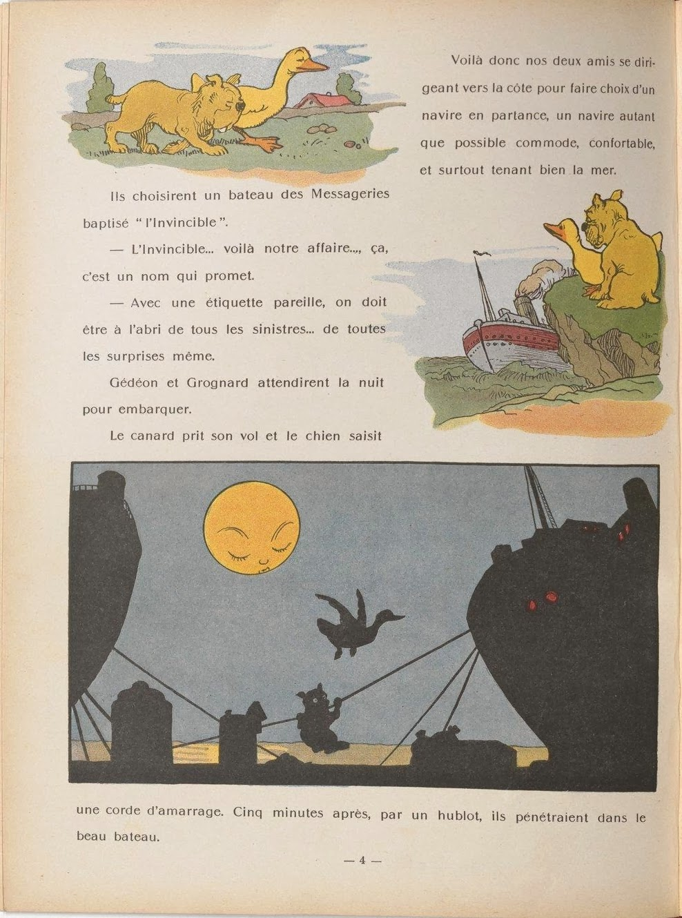 3 kids book illustration vignettes between French text