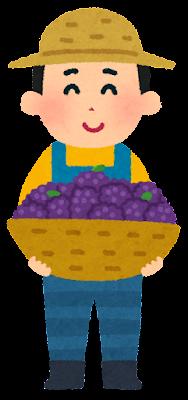果物農家の人のイラスト(ぶどう)