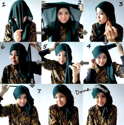 contoh tutorial hijab pashmina kebaya terbaru 2017/2018