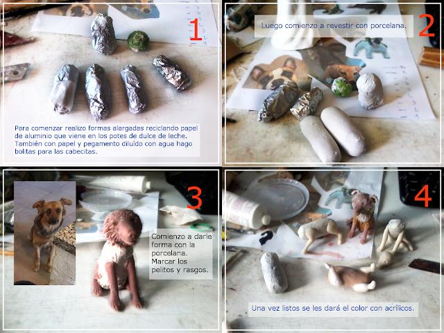 Perros para centro de torta modelados en porcelana fría