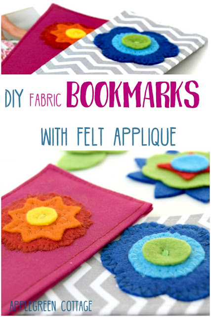 AppleGreen Cottage - DIY fabric bookmarks with felt applique, a clever and simple scrapbusting idea for this book-reading season. These DIY bookmarks with felt applique are a quick and easy beginner sewing project, and they make wonderful personalized DIY presents for your loved ones.