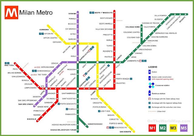 Mapa das linhas de metrô de Milão