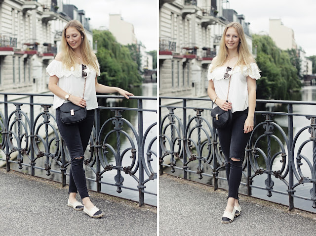 how to style a white off shoulder top, mango, zara, gina tricot