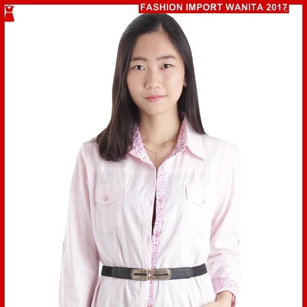 ADR124 Kemeja Pink Stripes Muslim Kombinasi Import