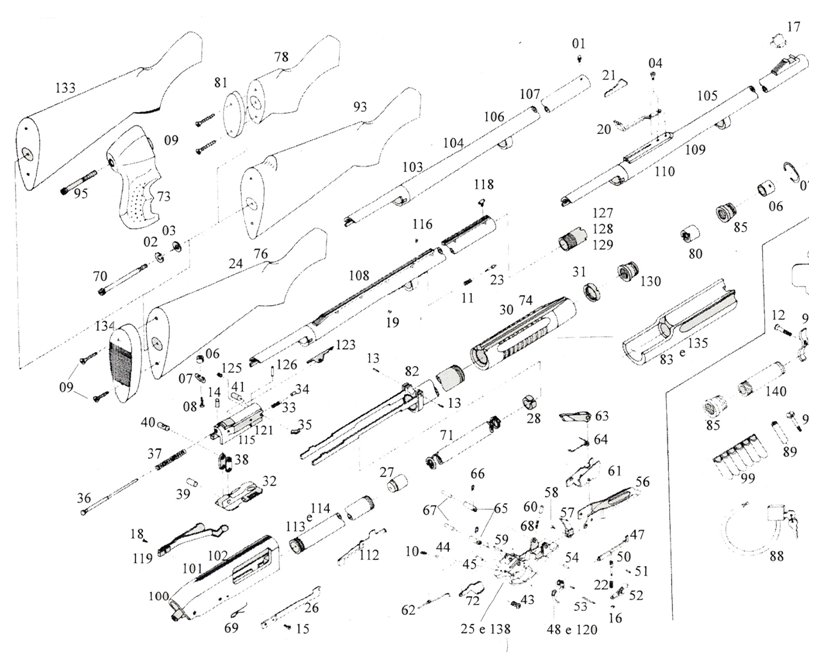 Vista Explodida de Armas de Pressão e Armas de Fogo: Junho
