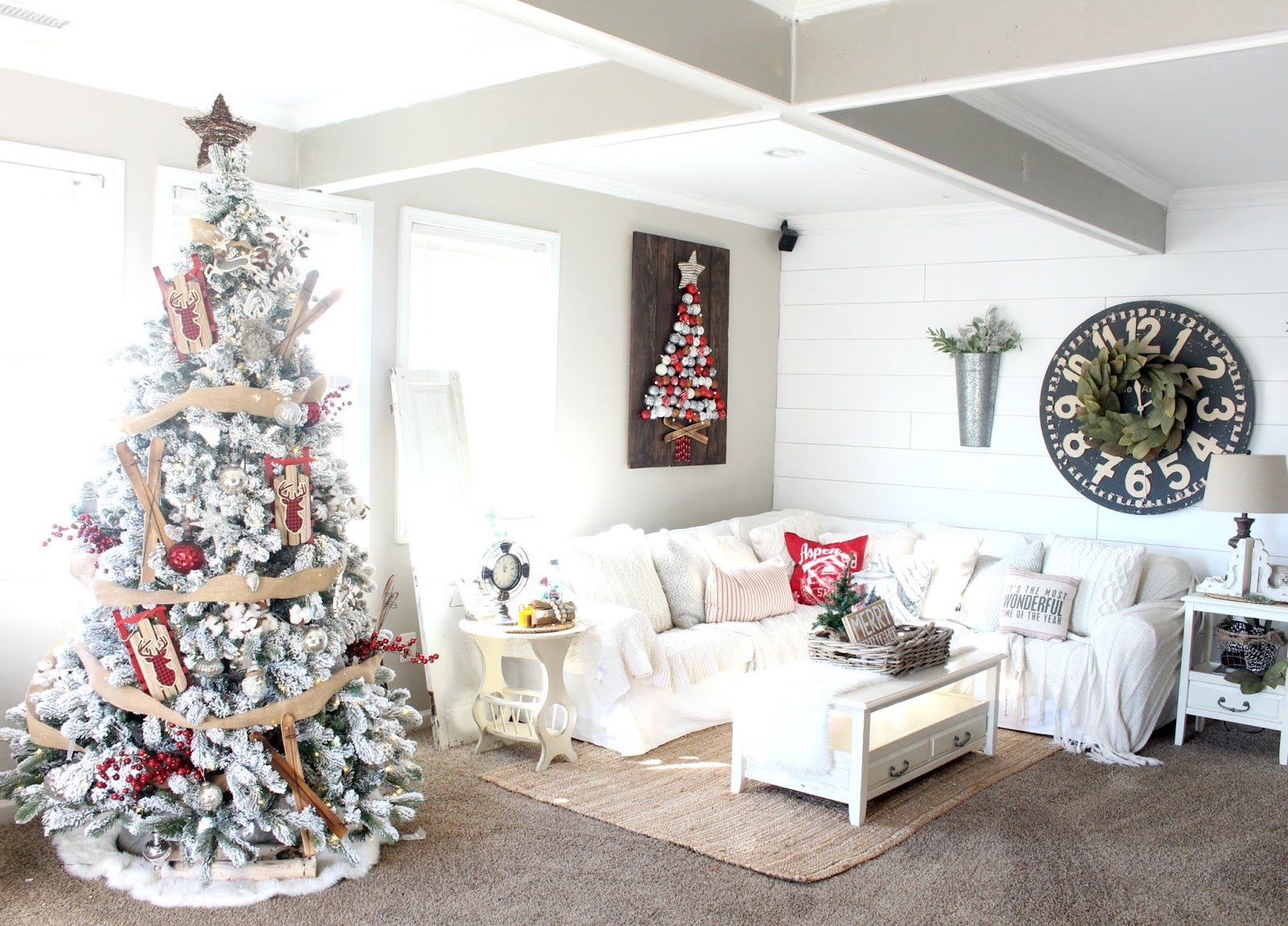 farmhouse glam living room white tile floor rustic christmas tour the looking for something search it here