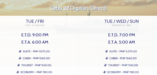Cebu-Dapitan Schedule in GPLines
