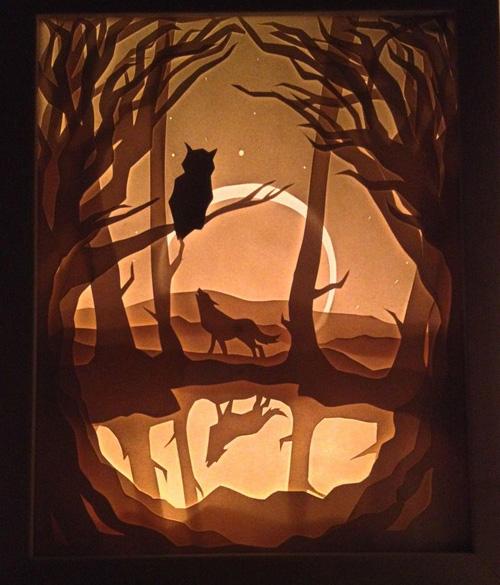 my owl barn hari and deepti paper cut lightboxes. Black Bedroom Furniture Sets. Home Design Ideas