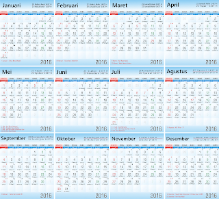 Download Vektor Kalender 2016 Lenkap Hijriyyah Gratis