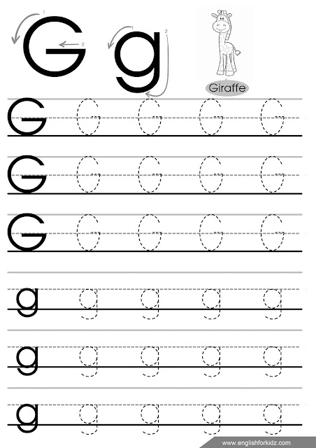 Letter g tracing worksheet for elementary school students