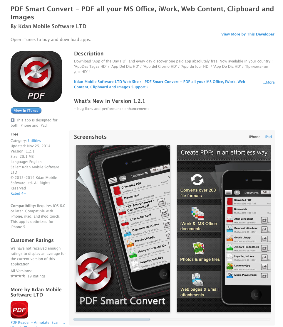 UCET Free iOS App Today: PDF Smart Convert - PDF all your MS