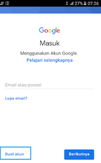 klik buat akun baru untuk membuat gmail tanpa verifikasi no hp