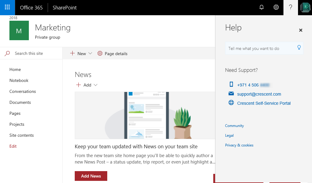 add contact info in sharepoint online help pane